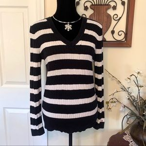 Tommy Hilfiger Navy & White Striped Sweater Sz L